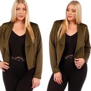 NEW Stylish Plus Size Blazer Jacket 123X OLIVE